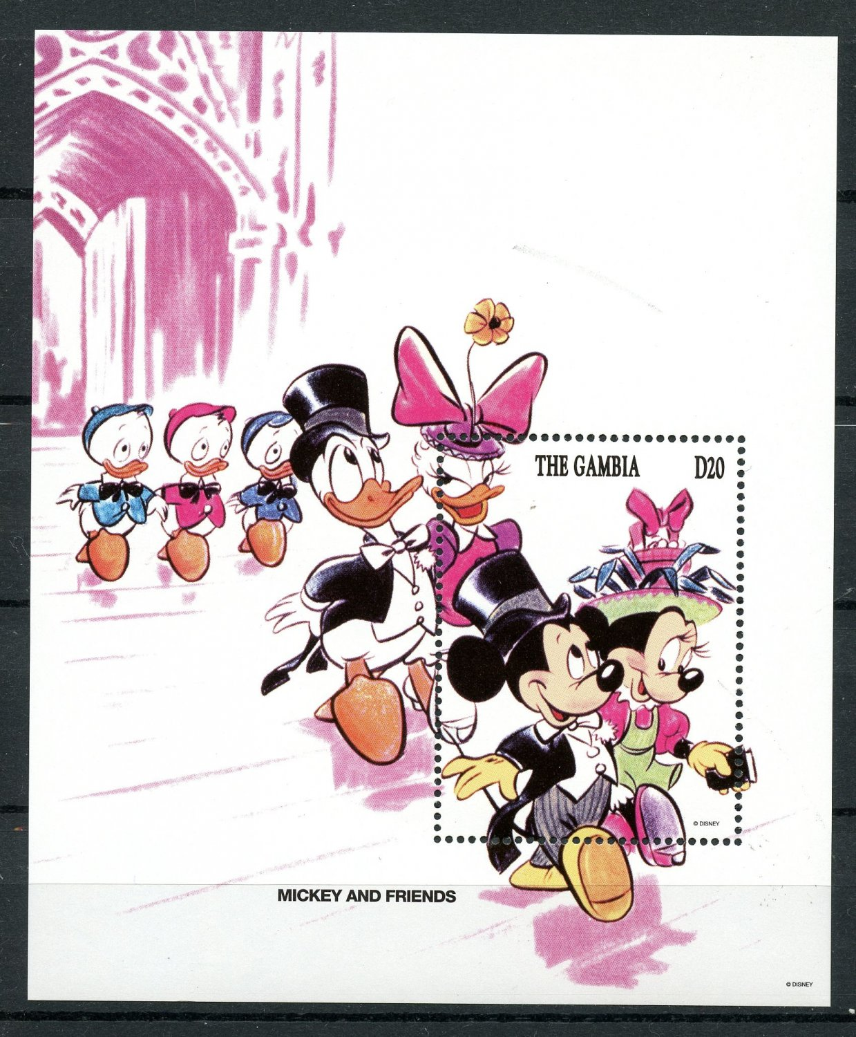 Easter Mickey Minnie Donald Daisy Souvenir Sheet 1994 Gambia #1533