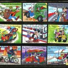 Disney Transport Workers Bus Train Trolley Bicycle mnh 9 stamps St. Vincent