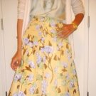 Authentic New PRADA Yellow Floral Silk Skirt (size 46/12)