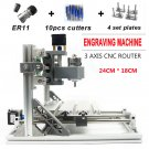 3 Axis CNC Router Kit 2418 ER11 Engraver Machine DIY PCB Milling Wood Carving !