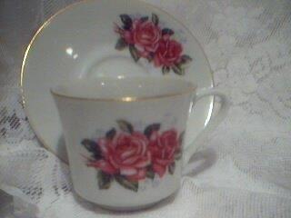 FTD Vintage China Rose Tea Cup and Saucer Set Pink Rose Shabby