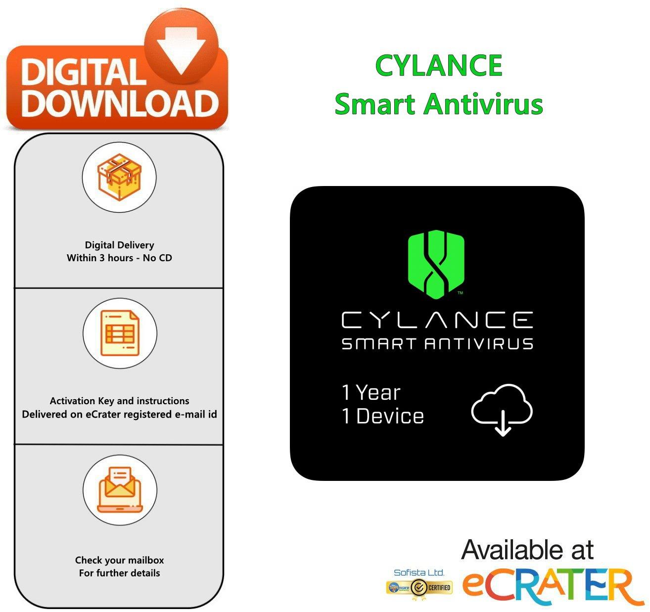 [1 Device] CYLANCE Smart Antivirus: World-class Next-gen AI Based Antivirus Protection [1 YR]