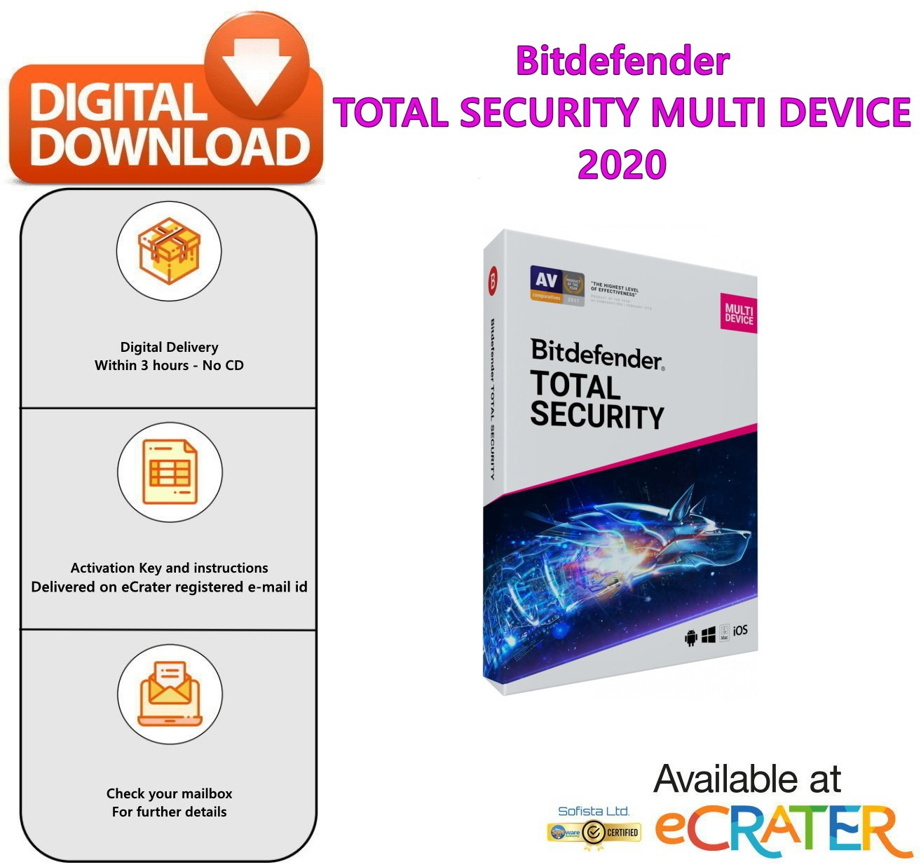 Bitdefender TOTAL SECURITY MULTI DEVICE (5 Devices | 3 Months): Anti Virus Software