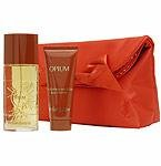 OPIUM by Yves Saint Laurent - EDT SPRAY 1.6 OZ & BODY LOTION 2.5 OZ & RED PURSE (W)