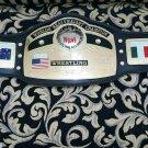 NWA Global World Championship Belt Original Leather Adult Size Metal Plates
