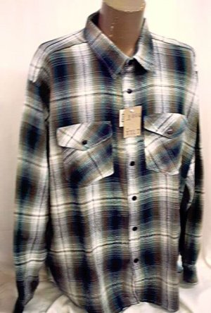 XXL casual Shirt Cotton long sleeve plaid  2X 18+ NWT new #1004