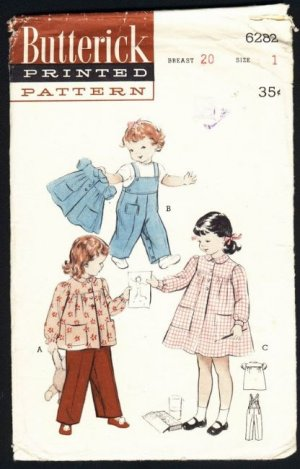 Vintage Pattern Butterick 6282 girls size 1 smock overalls