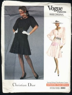 Vogue Paris Original Christian Dior Pattern 2063 size 14 80s