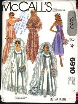 vintage McCALLS Wedding Gown pattern 6910 Miss size 14 1979