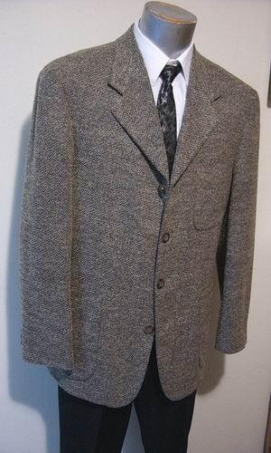 Haggar clothing Sport Coat Blazer jacket 42 reg tan/grey City Casuals