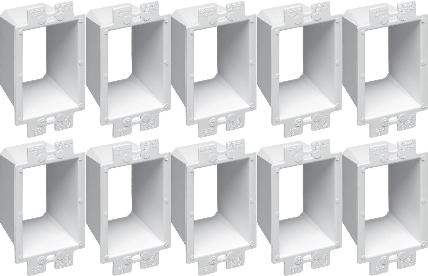 Pack of 10 Arlington BE1 Electrical 1-GANG Box Extenders switch outlet +4 MISCUT