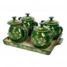 NEW Temp-Tations Set of 4 Soup Crocks with Tray FLORAL LACE GREEN dish dishes