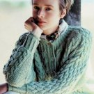 Vintage Knitting Pattern: Mock Turtleneck Sweater (pullover & cardigan) adult & child size (1995)