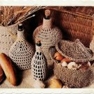 Vintage Crochet Pattern :  Bottle Covers, Basket, & Vegetable Storer (1977)