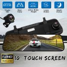 "10"" 1080P Full Screen Car Touch Rearview Mirror DVR Camera Recorder Night Vision"