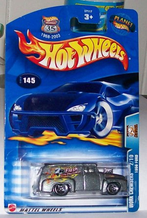 Hot Wheels 2003 1956 ford #145 mf grey orange flames