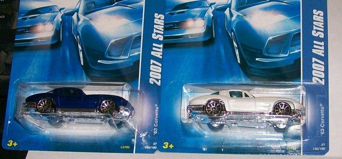"""Hot Wheels 2007 ALL STARS #150 """"63 CORVETTE"""" 2 VARI."""