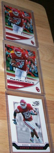 """PRESS PASS 2007 """"ADRIAN PETERSON"""" 3 CARD ROOKIE LOT LOOK!!"""