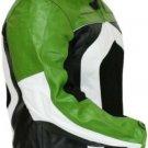 Men's Razer Motorcycle Biker Riding CE Armor Mesh Green Leather Jacket
