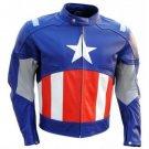 Marvel Avengers Captain America Motorcycle Biker Racing Leather Jacket