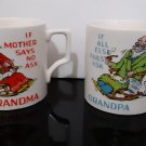 Rare Vintage Pre-1970's - Porcelain Humorous Grandma and Grandpa mug set - Made in Japan    (1629)