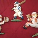 Vintage 1970 Sexton - Metal Wall Plaques Baseball Players - Nursery Bedroom Decor    (1645)