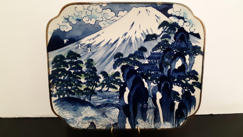 Vintage - Rectangular Mt. Fuji Platter - Hand Painted Cobalt Blue - Sun Ceramics, Japan   (1649)