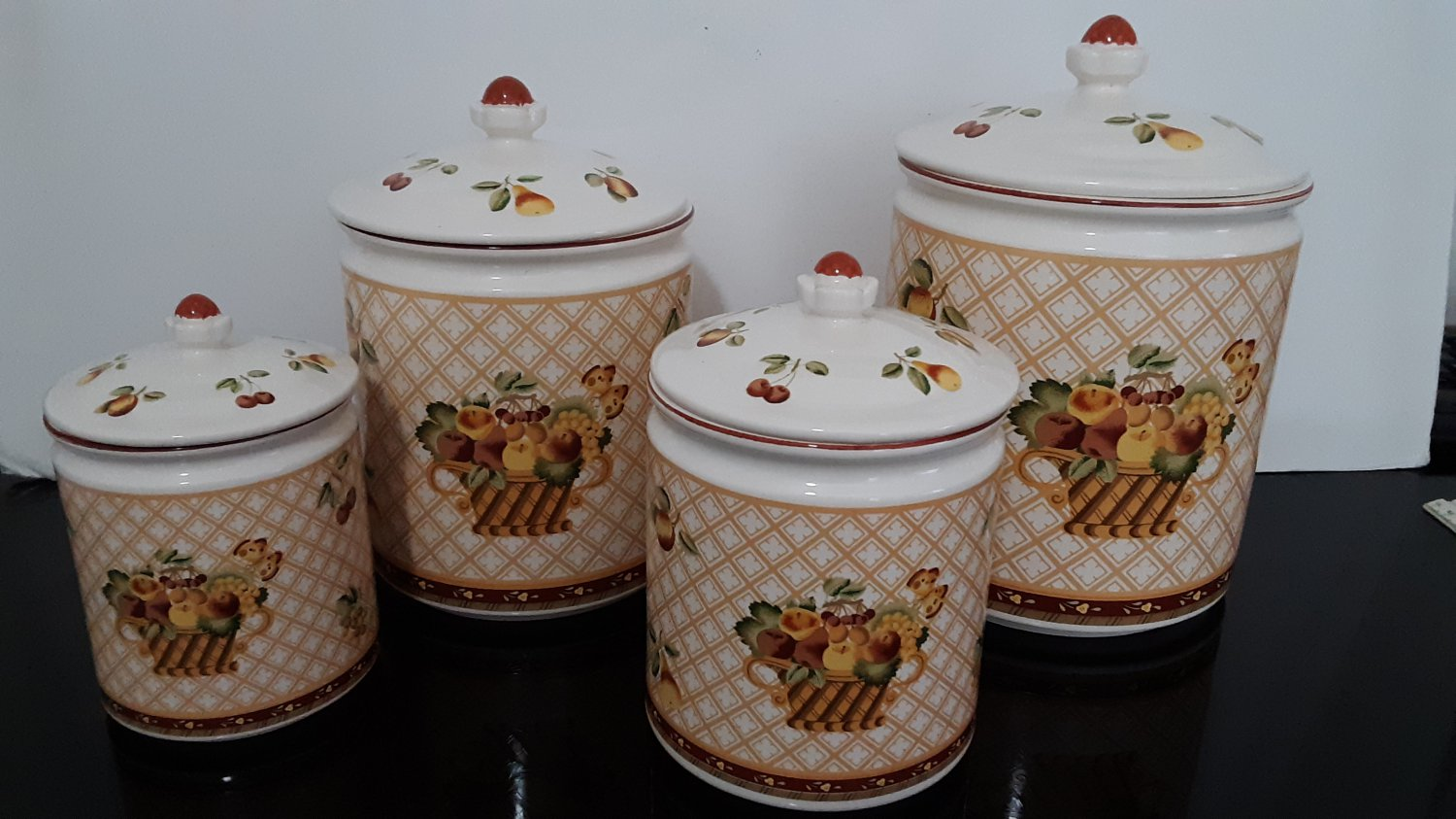 "Vintage - Set of 4 ""Country Fruit Basket"" Canisters - Made in Japan    (1659)"