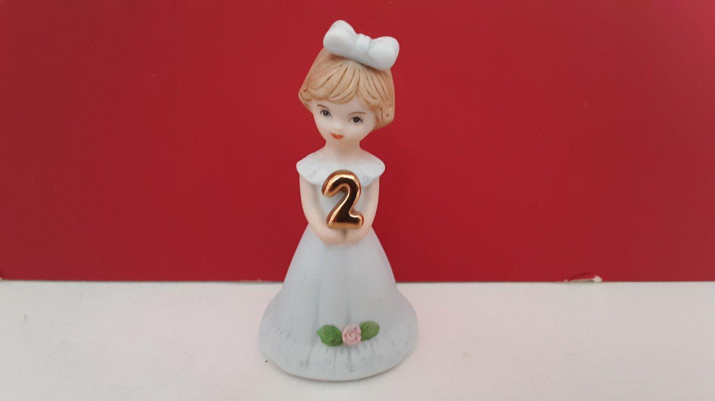 "Vintage 1982   ""Age 2""  Enesco Growing Up Birthday Girls - Porcelain Figurine    (1661)"