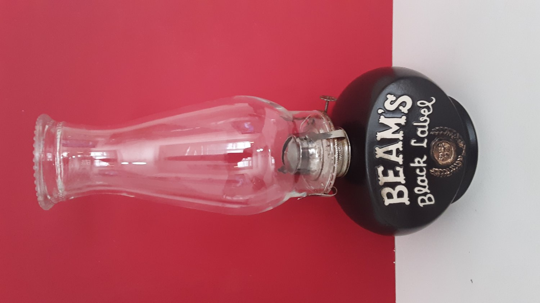 Vintage 1981 Glass Top �Jim Beams Black Label� Kerosene Lamp      (1671)