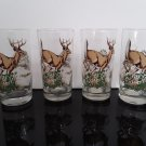 "Vintage Set of 4 Glass Tumblers - With Wonderful ""Buck Deer"" in the field color Print   (1709)"