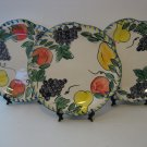 Vintage Lot of 3 - Decorative / Dinner / Desert Plates - Various fruits bright & Colorful     (271)