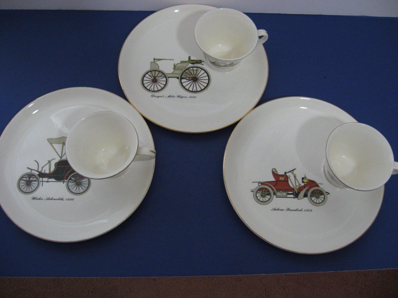 Vintage 1960's - Set of 3 Salem -  23kt Gold Trim Antique Car Breakfast Sets!   (964)