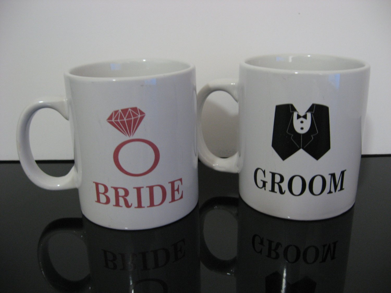 "Wedding / Engagement Gift! - Large ""Bride & Groom""  Coffee Mugs    (968)"