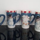 "Vintage Oneida - Set of 4 Large Christmas Mugs - ""Snowmen"" Winter Buddies   (1493)"