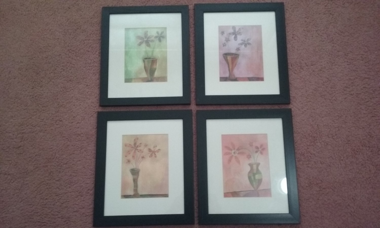 Vintage Wood Framed Pictures -  Set of 4 Floral Design Framed Matted 12x14 Pictures     (1490)