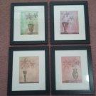 Vintage Wood Framed Pictures -  Set of 4 Floral Design Framed Matted 12x14 Pictures     (1490)