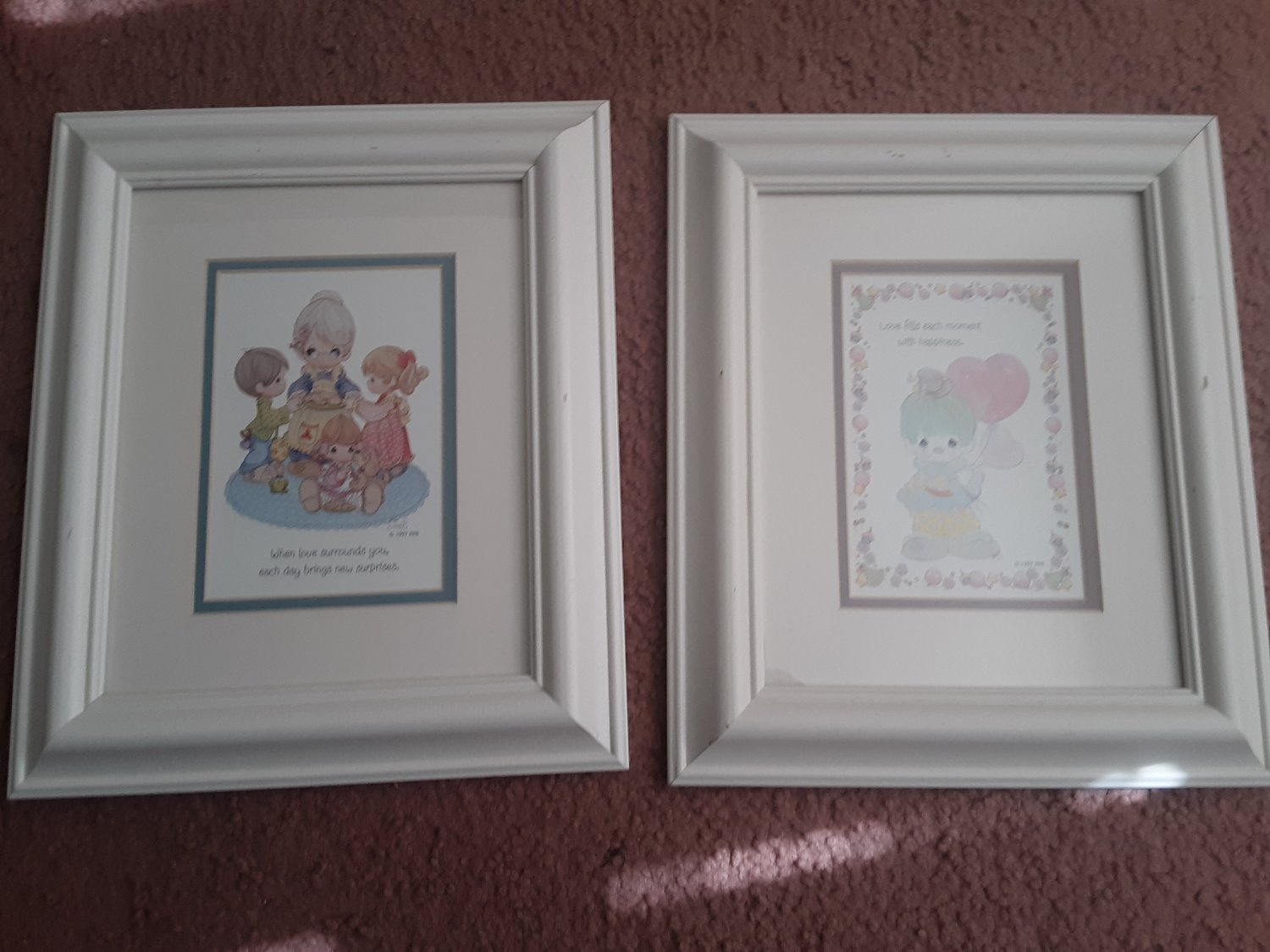 Vintage 1997 - Set of 2 - Precious Moments - Frame & Matted Wood Framed Pictures     (1717)