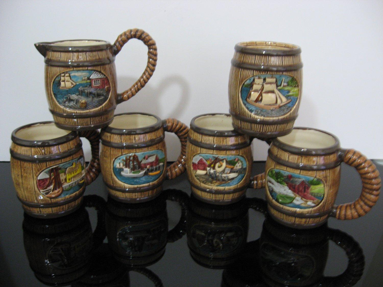 Vintage 1970's - Nautical Theme Barrel Mugs - Set of 4 Mugs with Creamer and Sugar Bowl  (975)