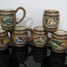 Vintage 1970's - Nautical Theme Barrel Mugs - Set of 4 Mugs with Creamer and Sugar Bowl  (975)