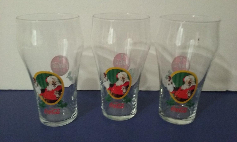 Set OF 3 - Coca-Cola Classic Santa Claus & Coca-Cola Logo Glasses by Big Boy    (1223)