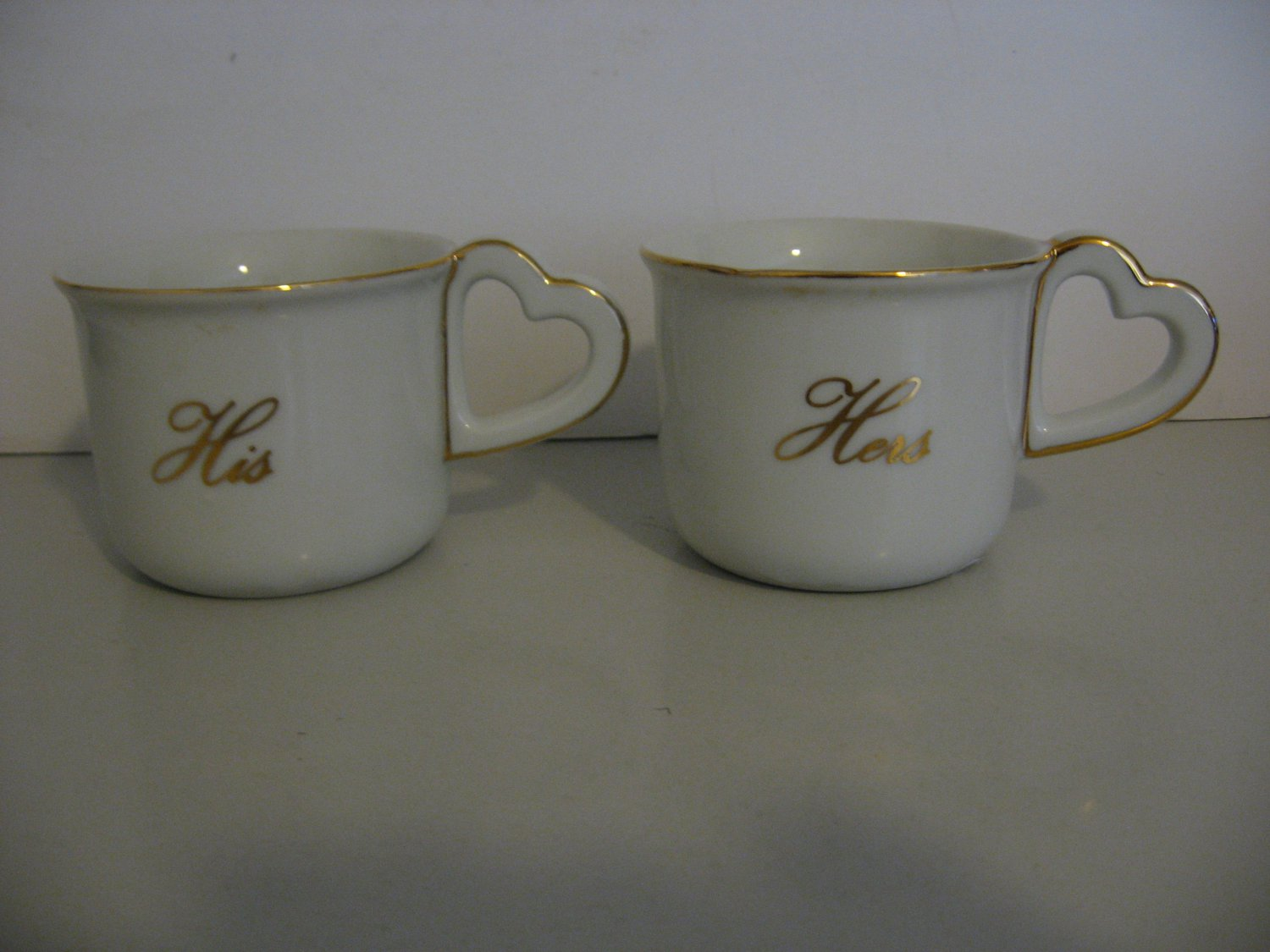 HIS and HERS - Heart Handle Mugs - Gold Trim And Lettering - Toscany Collection