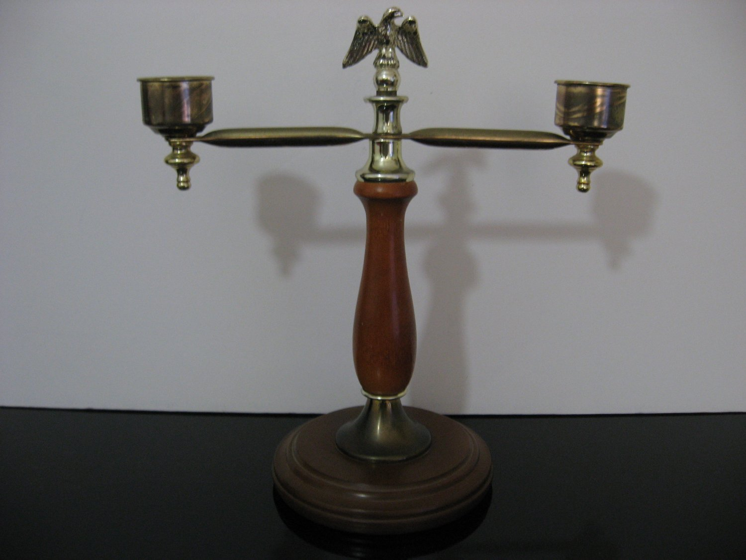 Vintage  -  Double Armed Eagle Candle Holder - Wood / Brass    (1031)