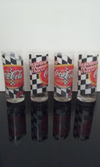 Vintage 1970's - Set of 4 - Nascar The Coca Cola Racing Family  - Set of 4 Tumblers    (1062)