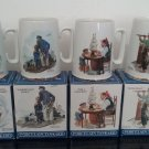 Vintage 1985 Long John Silver's - Set of 4 - Norman Rockwell Porcelain Tankard's.    (1261)