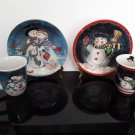 Set of 2 - Snowman Family & Snowman Matching Porcelain Mug and Dessert Plate's   (798)