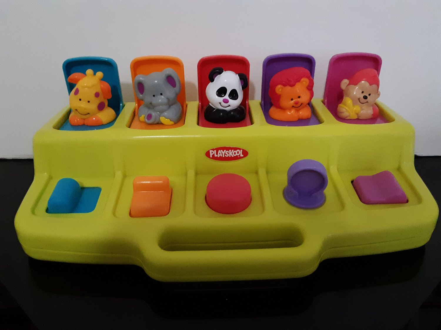 Vintage 1995 YELLOW - PLAYSKOOL Busy Basics Poppin Pals Pop Up Safari Zoo Jungle Animals   (1528)