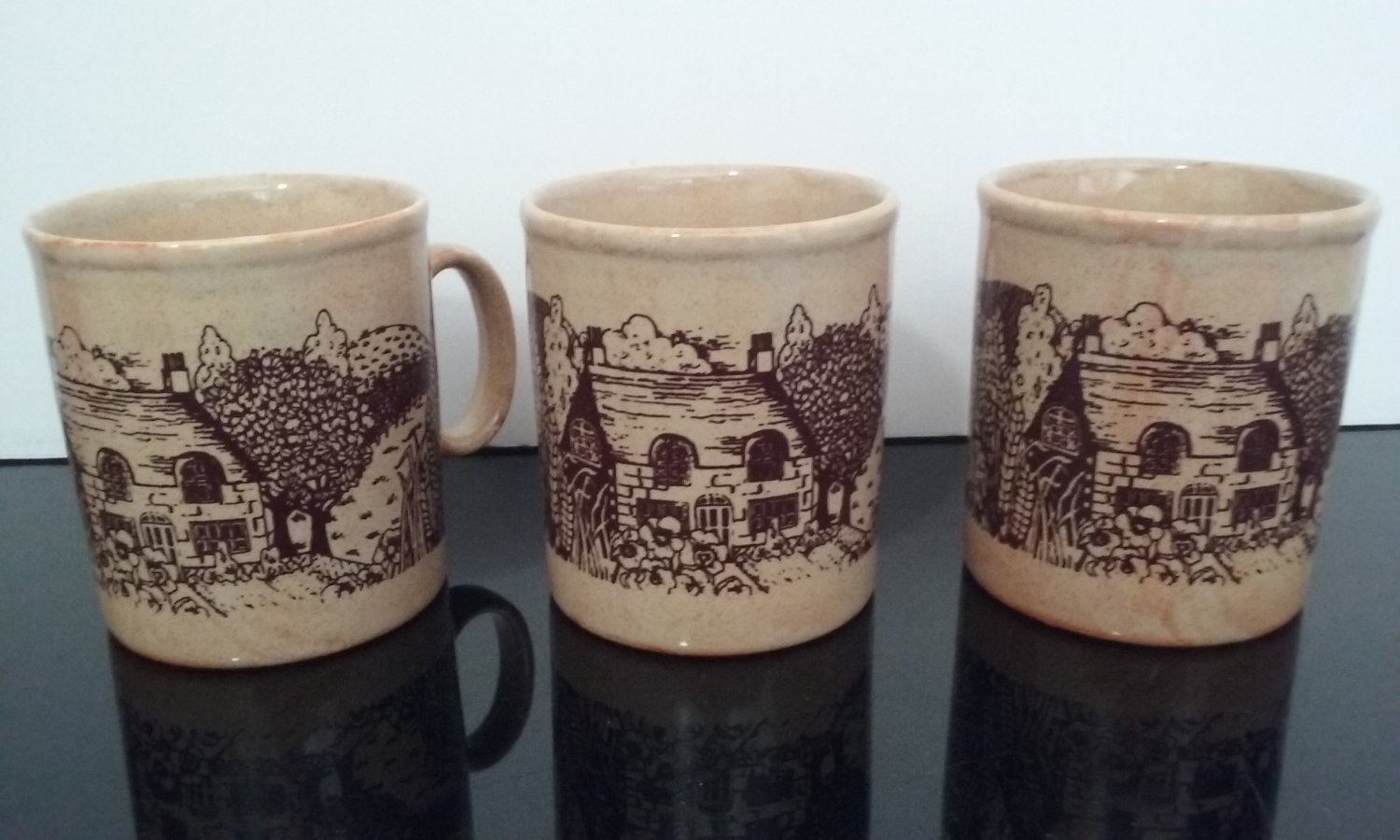 Vintage Churchill Mugs -  Country Scene - Set of 3 - Made in England   (1095)