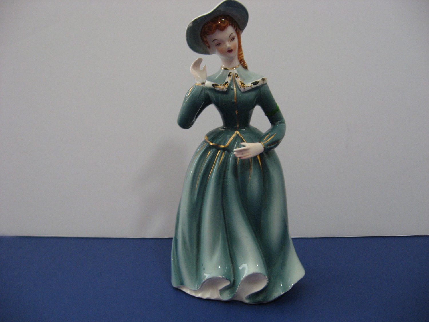 Vintage 1940's Southern Girl In Green Dress with Hat! - By Grantcrest - Hand Painted - Made in Japan