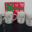 "New Old Stock - Vintage ""Christmas"" Reindeer Mugs - Set of 4 New in Box - Made in Japan"